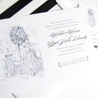 University Of South Carolina Skyline Wedding Invitations