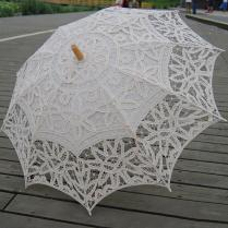 Vintage Lace Umbrella Handmade Cotton Embroidery White Beige Lace