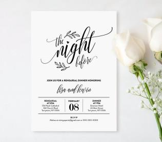 Wedding Rehearsal Dinner Printable Diy Rehearsal Invitation