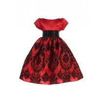 Ellie Kids Big Girls Red Satin Damask Taffeta Junior Bridesmaid