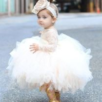 Baby Infant Toddler Pageant Clothes Flower Girl Dress, Long Sleeve