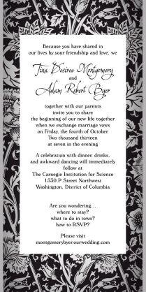 Fun Non Traditional Wedding Invitation Wording! No Rsvp Card