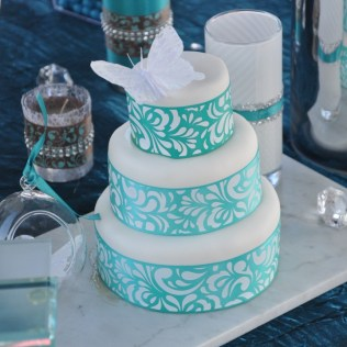 White & Turquoise Wedding Cake