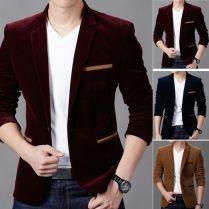 Fashion Men's Stylish Coat Jacket Blazer Slim Casual One Button