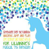 Rainbow Unicorn Birthday Invitation In 2019