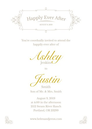 Elegance Wedding Invite 5x7 Flat Card