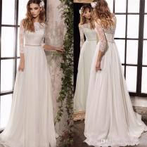 Discount Long Sleeve Lace Wedding Dresses 2019 New Simple Elegant