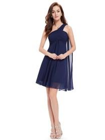 One Shoulder Navy Short Bridesmaid Dresses Under 100,blue