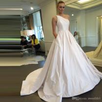 Discount 2017 Elegant Wedding Dresses One Shoulder Satin Wedding