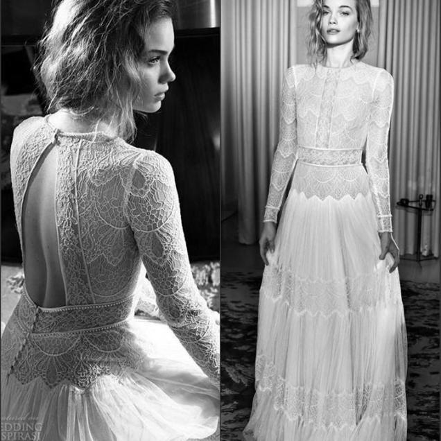 Discount Vintage 1920s Lace Long Sleeve Castle Civil Wedding