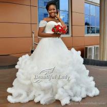 2017 African Wedding Dress 2017 Unique Strapless Cap Sleeve