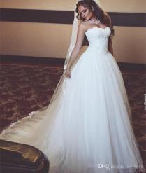 Simple Elegant Style Ball Gown Wedding Dresses Sweetheart Lace Top