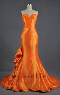 Custom Sweetheart Strapless Orange Taffeta Long Train Mermaid