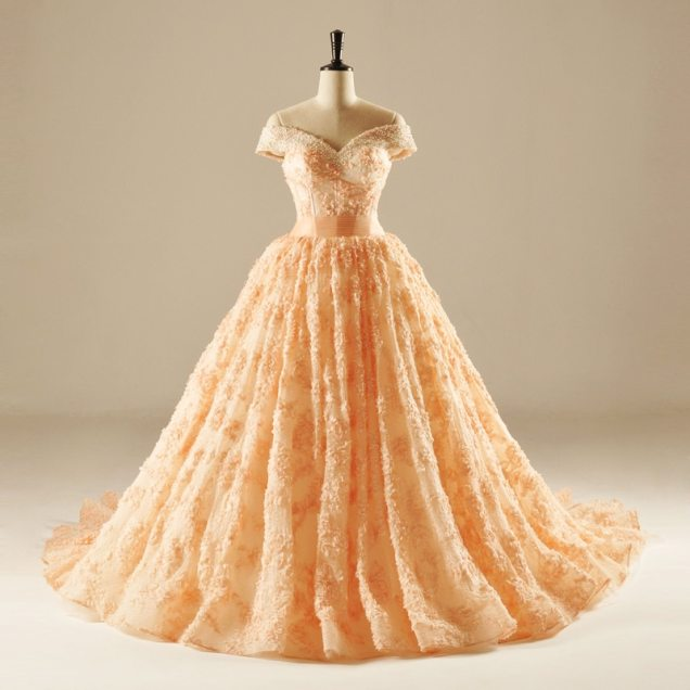 Gorgeous Orange Lace Flowers Off The Shoulder Ball Gown Beading