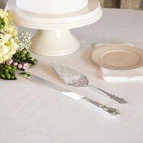 Silver Vintage Wedding Cake Serving Set Free Initial On