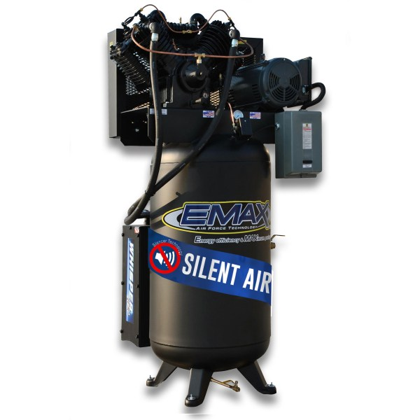 Emax Industrial 7.5hp 2 Stage V4 1 Phase 80 Gallon Vertical Silent Air System