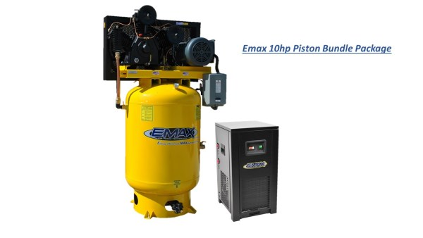 Emax 10hp 120 gal 3cyl 2 stage 3 Phase Compressor with Dryer Bundle