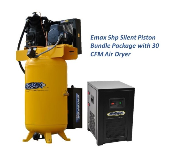 Emax 5hp 3ph Silent Air Piston Bundle With 30CFM Air Dryer