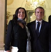 Magali Kervinio, directrice de l'EMBA et M. Macron, président de la république française