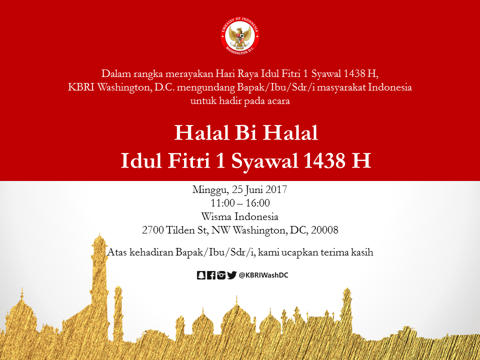 Halal Bi Halal Idul Fitri 1 Syawal 1438 H Embassy Of The Republic