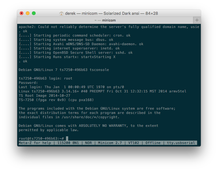 Screenshot of TS-7250-V2 Debian Shell via Console