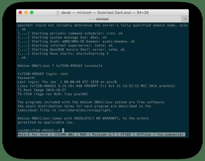 Screenshot of TS-7250-V2 Debian Shell via Console