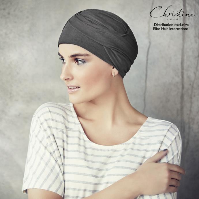 Bonnet turban coton gris chiné