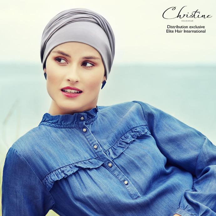 Bonnet turban coton gris