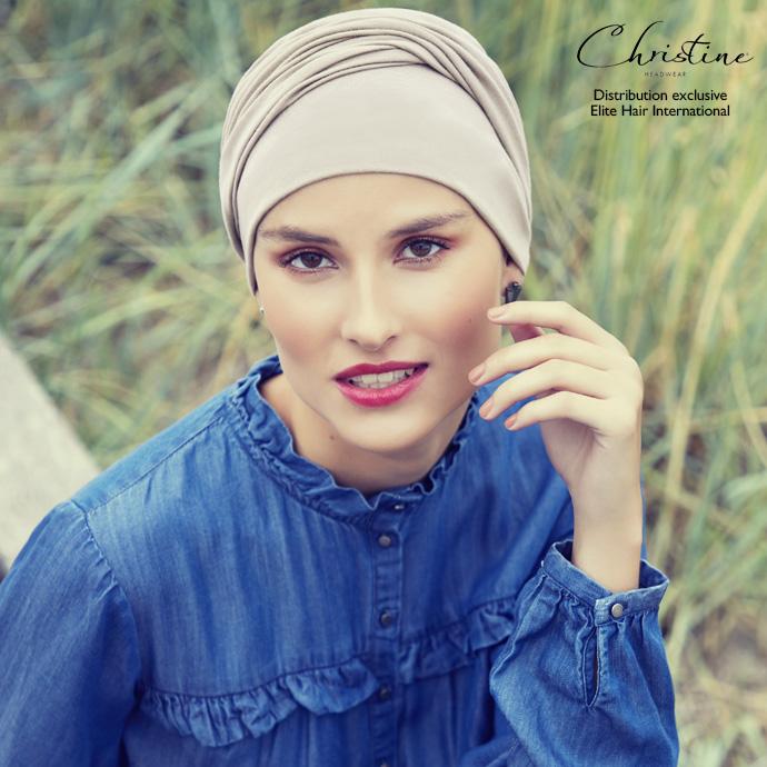 Bonnet turban coton beige