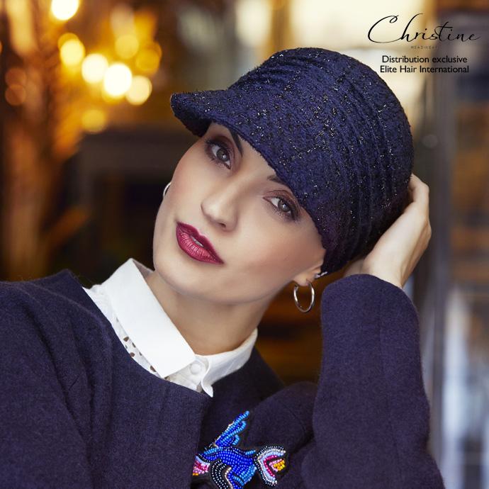 Casquette en tweed bleu