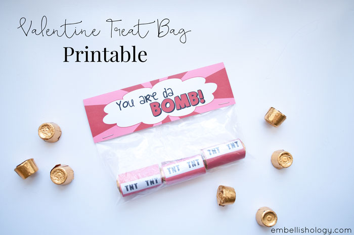 From embellish*ology, a printable Valentine's day treat bag kit
