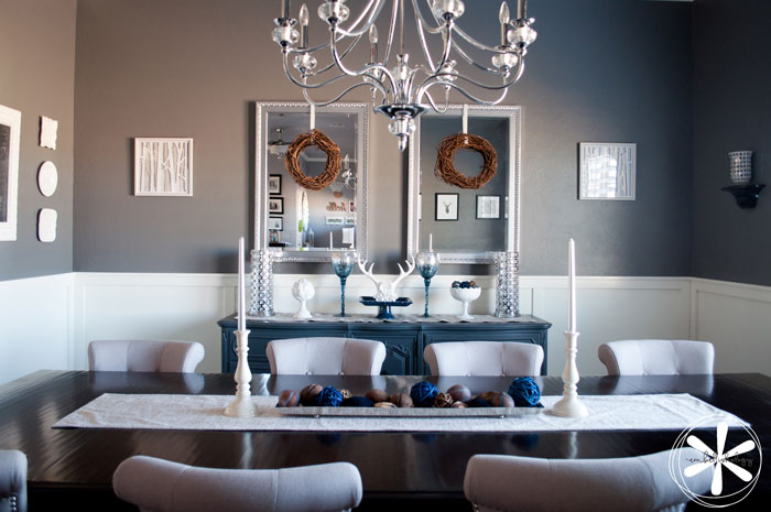 This contemporary dining room has come a long way from it's previous country decor.