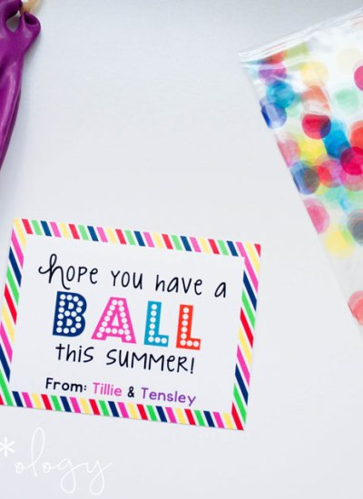"""Hope you have a ball this Summer!"" gift idea with a FREE Printable!"