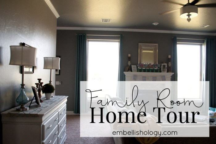 Home Tour: A bright and fun family room with a little farmhouse and a little glam.