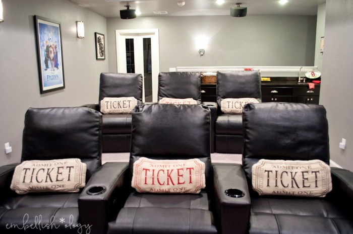 Come take a tour of our family theater room complete with movie posters, popcorn and snacks!