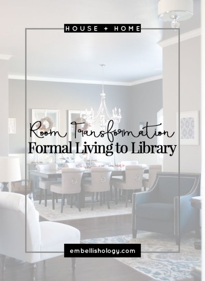 Room Transformation: Formal Living to Rustic Glam Library