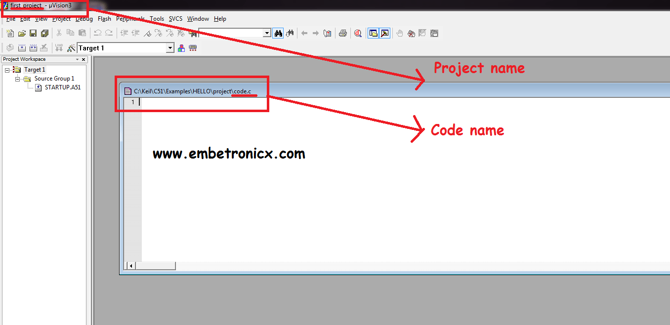 how to create a project in keil