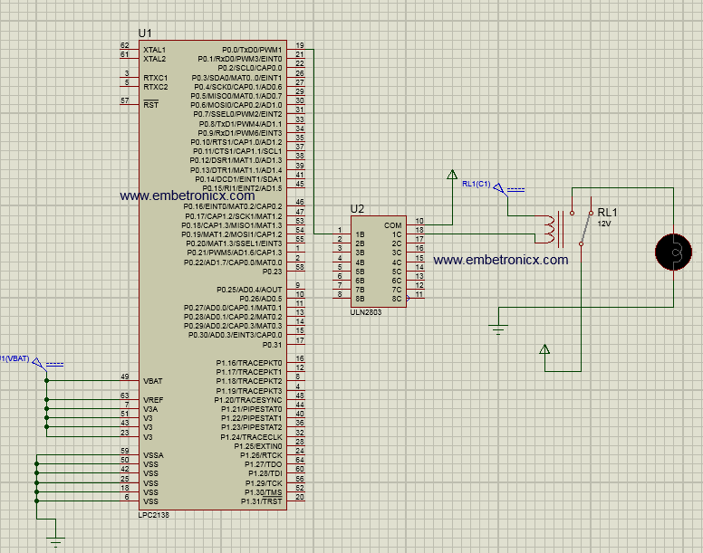 Relay interfacing with LPC2148 using ULN2803 | EmbeTronicX