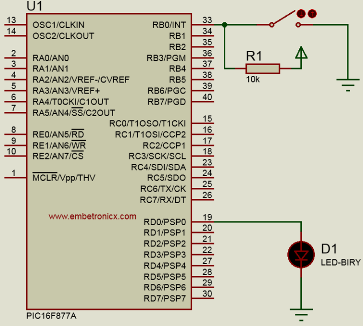 external-interrupt-pic16f877a PIC16F877A - Interrupt Tutorial
