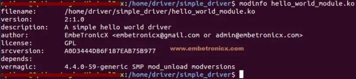 linux-device-driver-tutorial-modinfo Linux Device Driver Tutorial Part 2 - First Device Driver