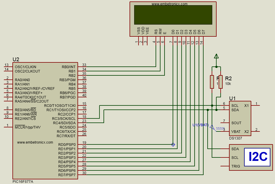 Rtc Interfacing With Pic16f877a Ds1307 Embetronicx