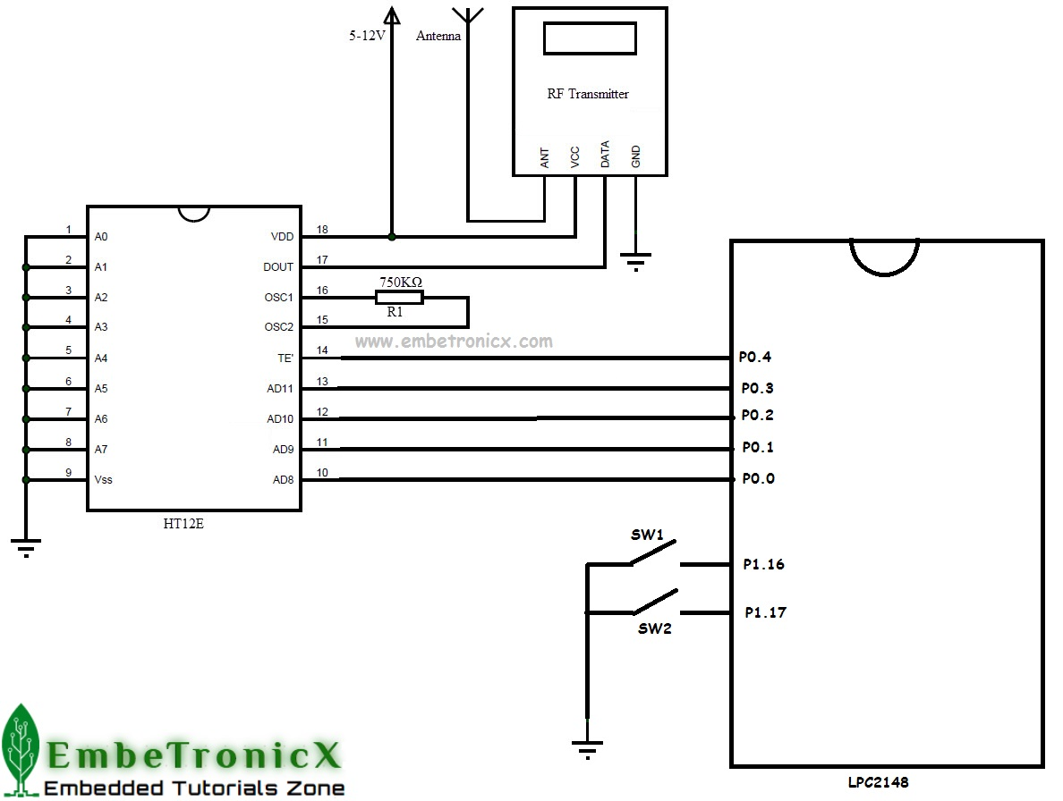 Rf Module Interfacing With Lpc2148 Wireless Embetronicx Receiver 12 Volt Transmitter Schematic Circuit Diagram