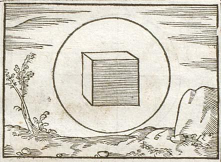 Pictura of Bèze, Théodore de: Icones (1580):  Stare cubum in tereti cernis quicu