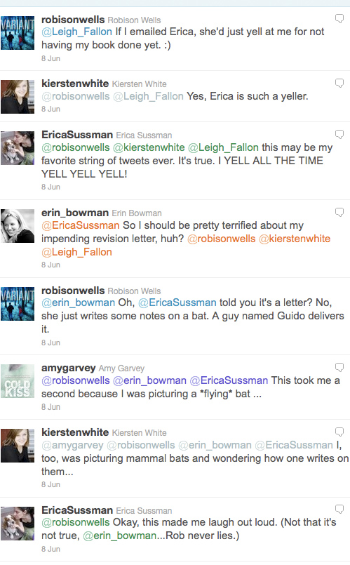 A twitter conversation including @EricaSussman, @robisonwells, @kierstenwhite, @Leigh_Fallon, @amygarvey and myself