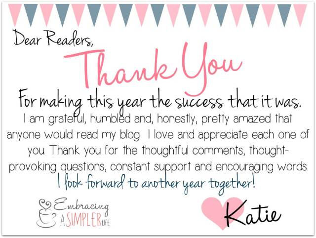 One year anniversary thank you card to readers
