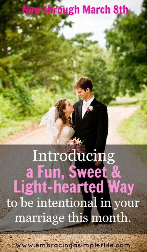 introducing a fun sweet and light-hearted way to be intentional in your marriage this month