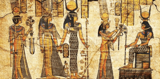 Papyrus sheet of Egyptian Deities