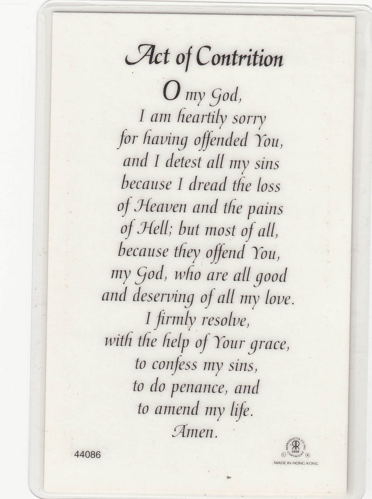 Art Of Contrition Laminated Prayer Card 110 X 70mm Holy