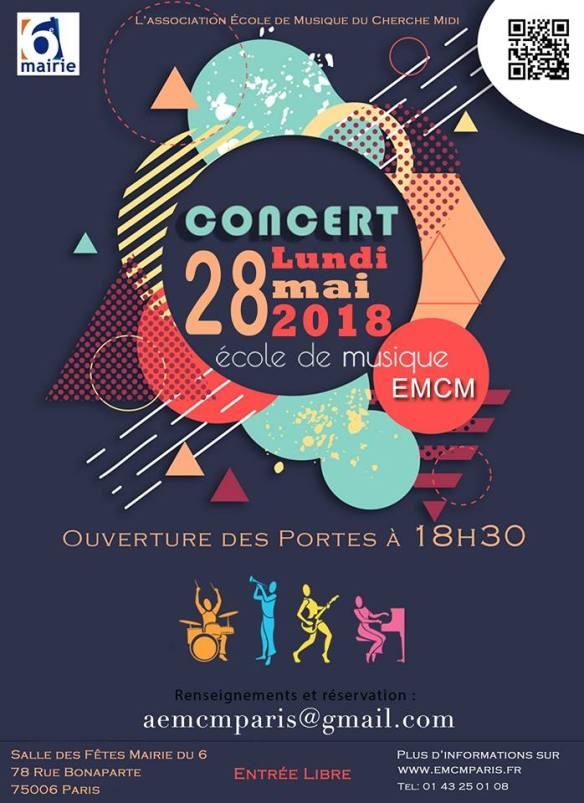 Concert Ecole de Musique du Cherche Midi 28 mai 2018 Paris