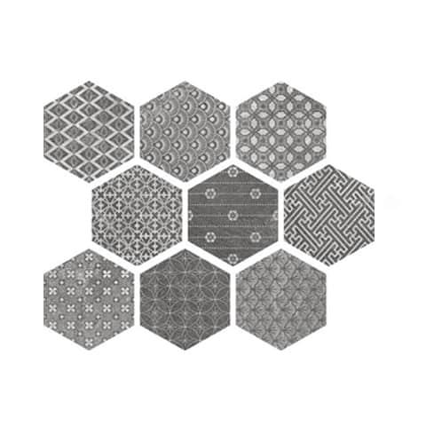 soft grey kendo mix hexagon pattern matt tile